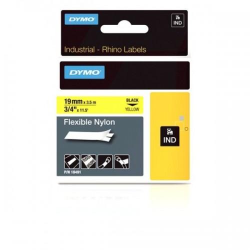 Dymo Rhino Nailono Juostelė 18491 19mm x 3.5m juodas ant geltonos / lanksti